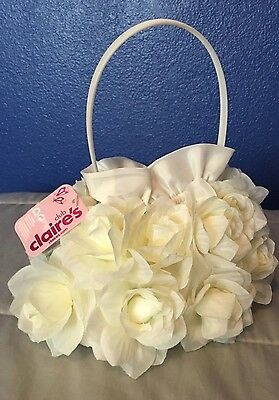 NWT Bridal wedding Flower girl purse bag handbag floral cream ivory satin Bride