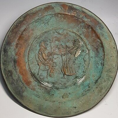 Ancient Wonderful Rare Bronze Plate With King & Queen in Center # F