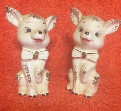 Two Vintage Sheep Lamb Ceramic Porcelain White & Gold