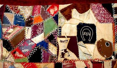 Vintage antique victrian 1884 silk crazy quilt Late 1800's embroidered quilt