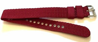18mm 20mm 22mm DARK RED NYLON THREAD ONE PIECE EXTRA LONG WATCH MILITARY STRAP