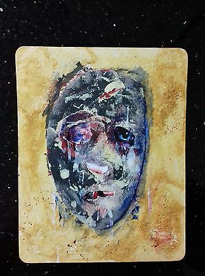 Original symbolist   portrait painting  in gouache, acrylic and collage