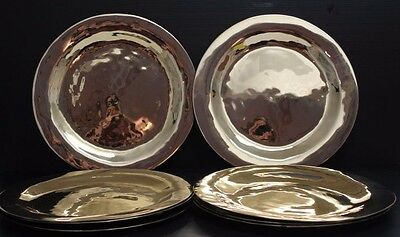 """Lot of 8 Hammered Metal Chargers / Services Plates w/ Metallic Gold Finish ~ 11"""""""