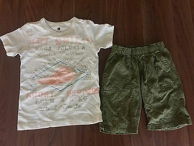 Tea Collection India Ghost Pepper t-shirt tee Preet Print shorts set size 7