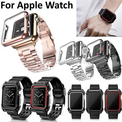 Replacement Silicone/Stainless Steel Sports Strap Protect For Apple Watch 42mm