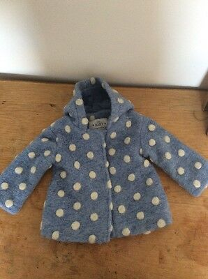 M&S Baby 3-6months Blue & White Spotty Coat. Brand New Without Tag