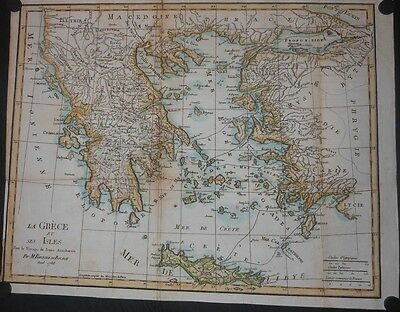 Ancient Greece Turkey & Crete 1790 Map By Bocage Hand Colored Cities Mountians