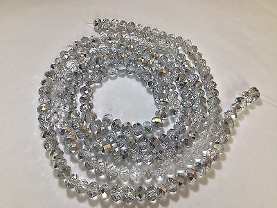 100 x AB Crystal Cut Glass *Silver & Clear* {6mm} Rondelle Beads. #SCRS1