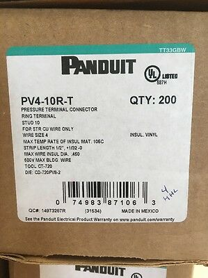 **NEW** 200 Pc PV4-10R-T PANDUIT PRESSURE INSULATED RING TERMINAL 10 WIRE SIZE 4
