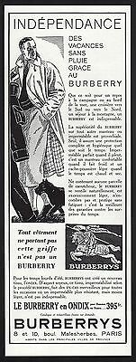 Publicite  Impermeable  Burberrys Ondix Burberry  Mode Fashion  Ad  1930    1F