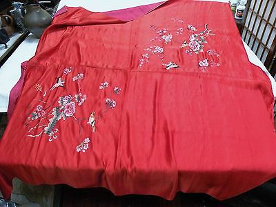 txup ANTIQUE ASIAN SILK RED EMBROIDERED LARGE PANEL, BIRDS FOLIAGE  104 X 104""