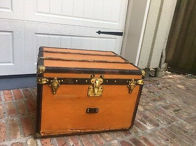 1903 Antique Louis Vuitton Orange Steamer Trunk Rare Size Brass Hardware Paris