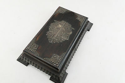 Antique Carved Victorian Wooden Not Pad Box W/ Sterling Repousse Floral Cross