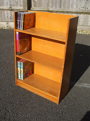Small mid-century bookcase, blonde oak,1950s style, fast economy delivery