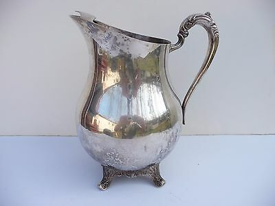 Vintage F.b.roger Siver Co 1883 Ornate Footed Design Water Pitcher Wiht Ice Lip