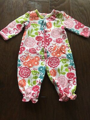 Vera Bradley Baby Long Sleeve Button Front Romper Sleeper Size 0-6 Months