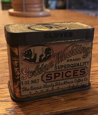 Antique Golden Wedding Clove Spice Tin Litho Can Kansas City Vintage Coffee Co