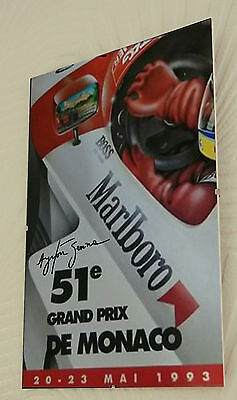 "Ayrton Senna Monaco 1993 Clip Glass Framed Canvas Print Signed ""Great Gift"""