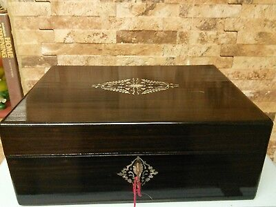 antique rose wood mother of pearl box+ key