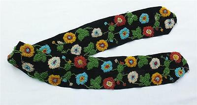 ANTIQUE FLORAL BEADWORK BAND in the style of/or NATIVE AMERICAN IROQUOIS