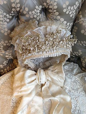 Beautiful Antique French Lace Wedding Bonnet Lily Valley Flowers Pretty Display