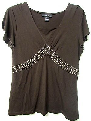 Style & Co Women Size Large Brown Summer Embellished Stretch Top Blouse Tunic L