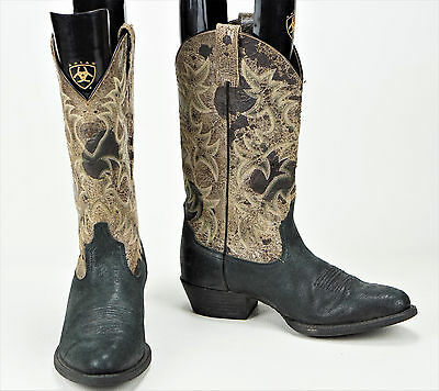 ARIAT STYLE 10007593 HERITAGE BLACK LEATHER WESTERN MEN'S BOOTS Sz. 9.5 D : )