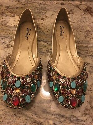 Brand New Kundan Khussas Good Quality NEW Stones Pakistani Shoes Size 7