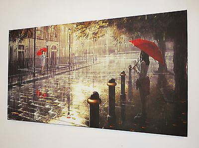 """Red Umbrella On London Streets  Wall Art Canvas Picture Large 18"""" X 32"""" Inch"""