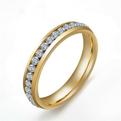 4MM Gold/Silver Titanium Steel Cz Bands Women's Engagement Party Rings Size 6-11
