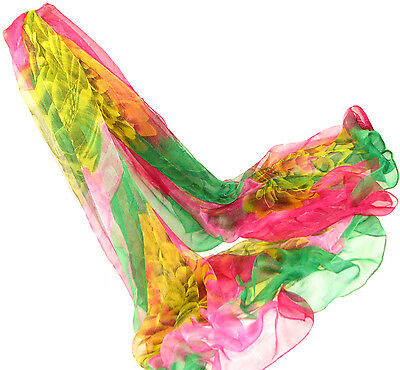 "Women's 100% Sheer Silk Scarf / Multi-color / Floral / 68"" X 42"""