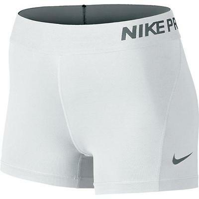 """NWT Nike Pro Cool 3"""" Women's Compression Shorts 725443-100 White"""