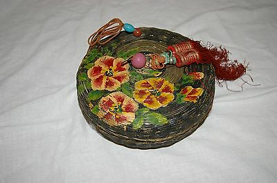 Vintage Chinese Handpainted Bamboo Sewing Basket -small w/Peking Glass Beads