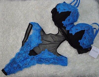 Frederick's of Hollywood Teddy Lingerie Black Blue Lace M Medium Mesh Thong