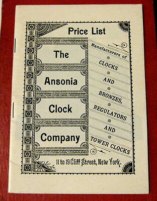 Vtg illustrated Price List for THE ANSONIA CLOCK COMPANY clocks and parts