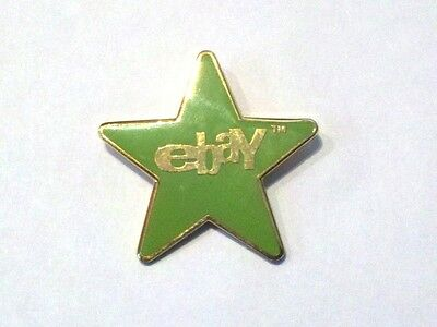 eBay GREEN STAR 5,000 FB Pin Back NEW Enamel Old Logo Award Ebayana Lapel Tac