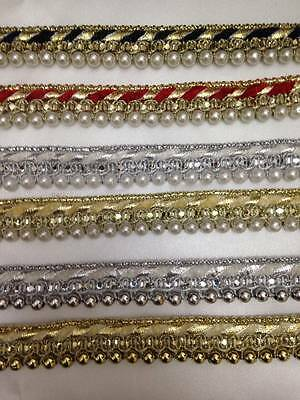 Vintage Style Pearl Beaded Lace Edging Trim Ribbon Wedding Applique 1Yard X 20mm
