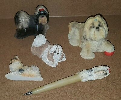 LOT OF SHIH TZU COLLECTIBLES Magnet Pen Figurine Resin Stone Critters Sandicast