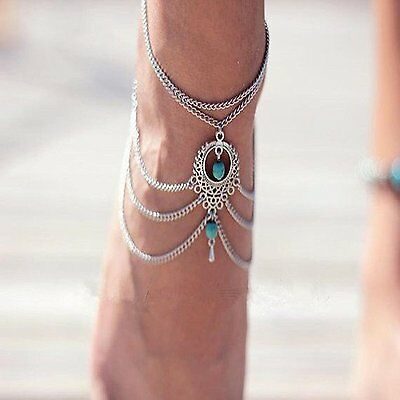Fashion Womens Beach Barefoot Sandal Foot Turquoise Jewelry Anklet Chain Tassel