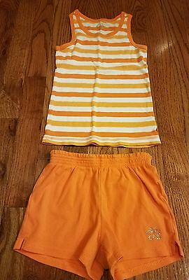 Girls orange white outfit tank top shorts set The Children's Place size 5 6