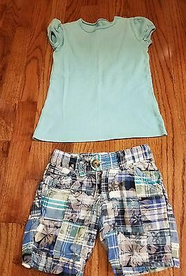 Girls blue shirt plaid shorts outfit set Old Navy size 5 Small