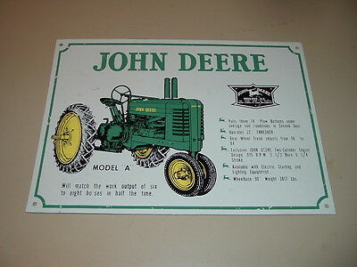 "John Deere Metal Tin Farm Tractor Sign Model ""A"" Moline, ILL"