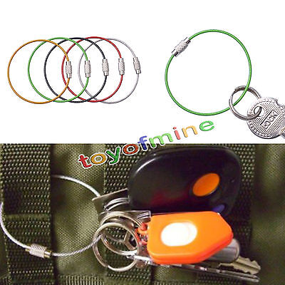 5 Wire Carabiner KEY CHAIN Cable Stainless Steel RING Screw Locking