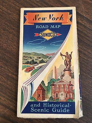 Vintage Sunoco Promotional Road Map of New York and Historical Scenic Guide