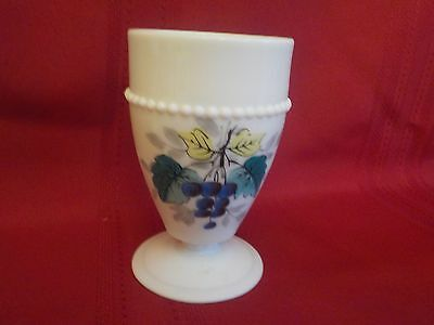 Westmoreland Milk Glass Beaded Edge Footed Tumbler Grapes 8 Oz. Hand Painted