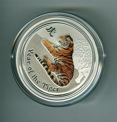 Australia 2010 50 Cents 1/2 Oz. .999 Silver Colored Tiger. Gem Bu