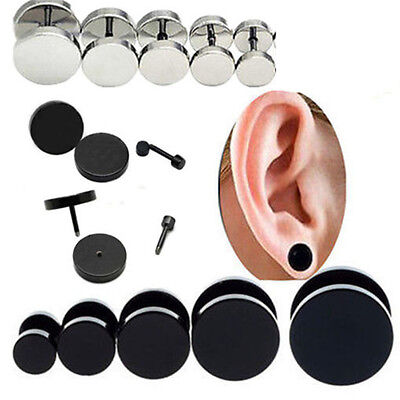 2Pcs Mens Women's round Barbell Punk Gothic Stainless Steel Ear Studs Earrings