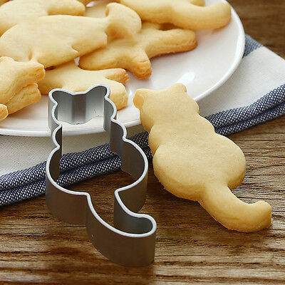 New Cat Shaped Aluminium Mold Sugarcraft Cake Cookies Pastry Baking Cutter Mould