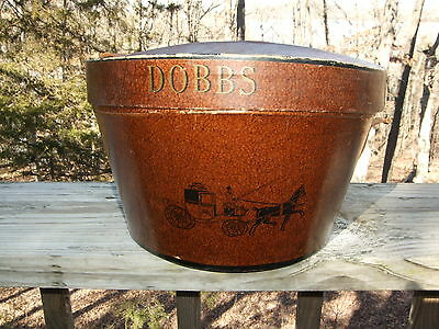 Vintage Rare Unique Dobbs Fifth Avenue Brown Oval Hat Box w Brown Leather Strap