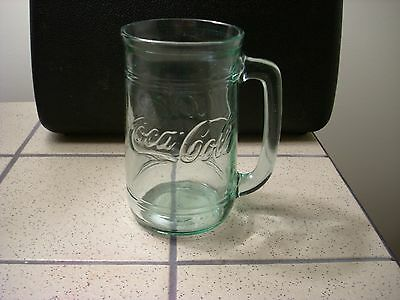 Coke Coca Cola green tint glass mug stein cup classic collectible soda pop drink